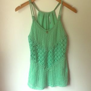 Green crocheted maurices tank top